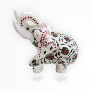 Marble Elephant White Green Red - The Handicraft Shop