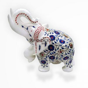 Marble Elephant White Blue - The Handicraft Shop