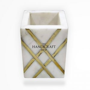 White Marble Pen Pencil Holder - The Handicraft Shop