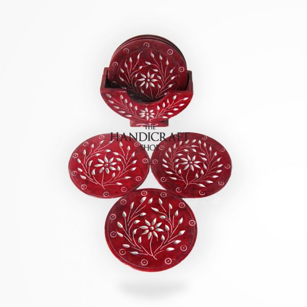 Red Marble Coaster Set - The Handicraft Shop