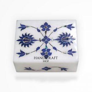 White Marble Blue Jewelry Box - The Handicraft Shop