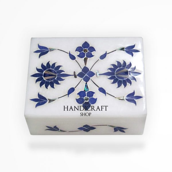 White Marble Blue Jewelry Box - The Handicraft Shop